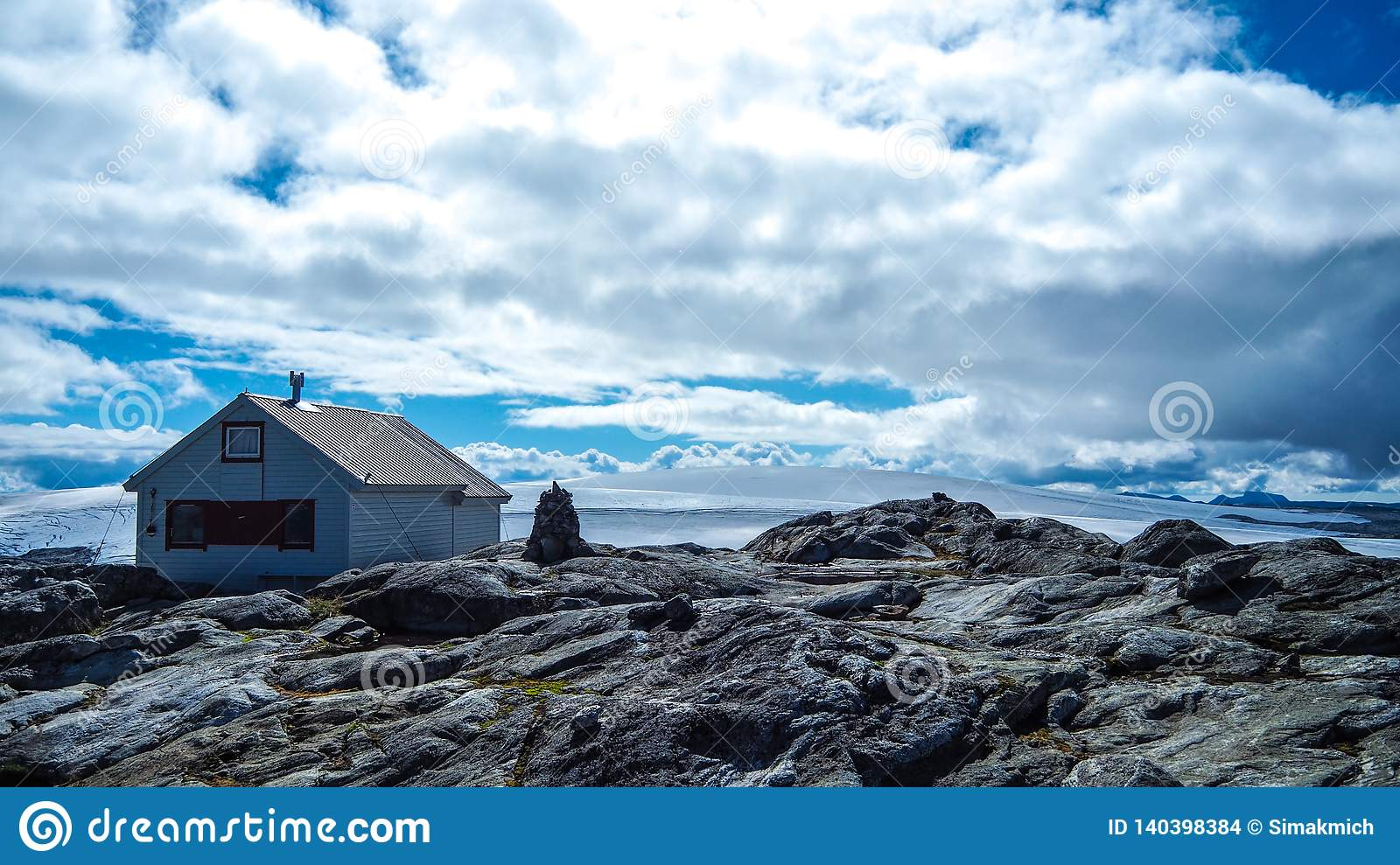 Small cabin at the top of Folgefona Glacier in Norway