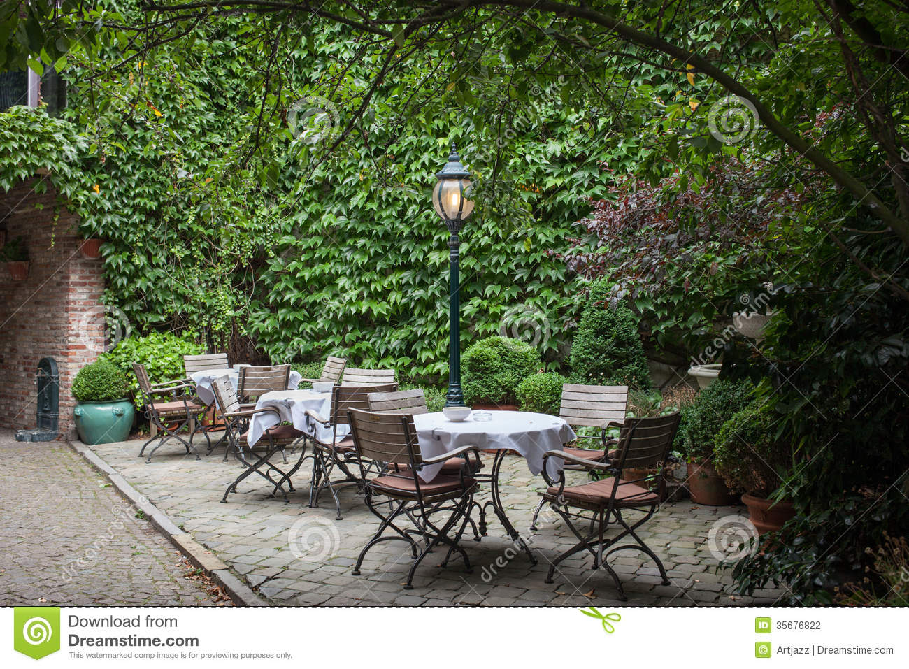 Little Backyard Cafe : Small Cafe In Bruges, Belgium Stock Photography  Image 35676822