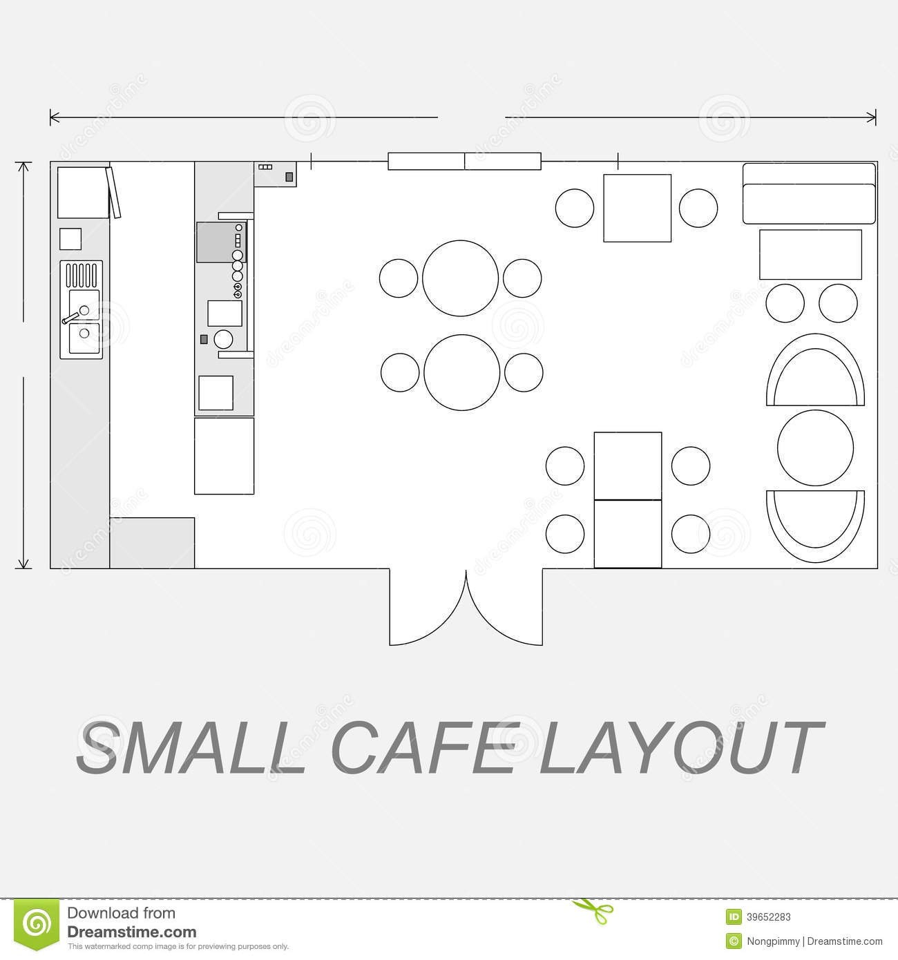 Small cafe layout stock vector illustration of shop for Coffee shop floor plan with dimensions