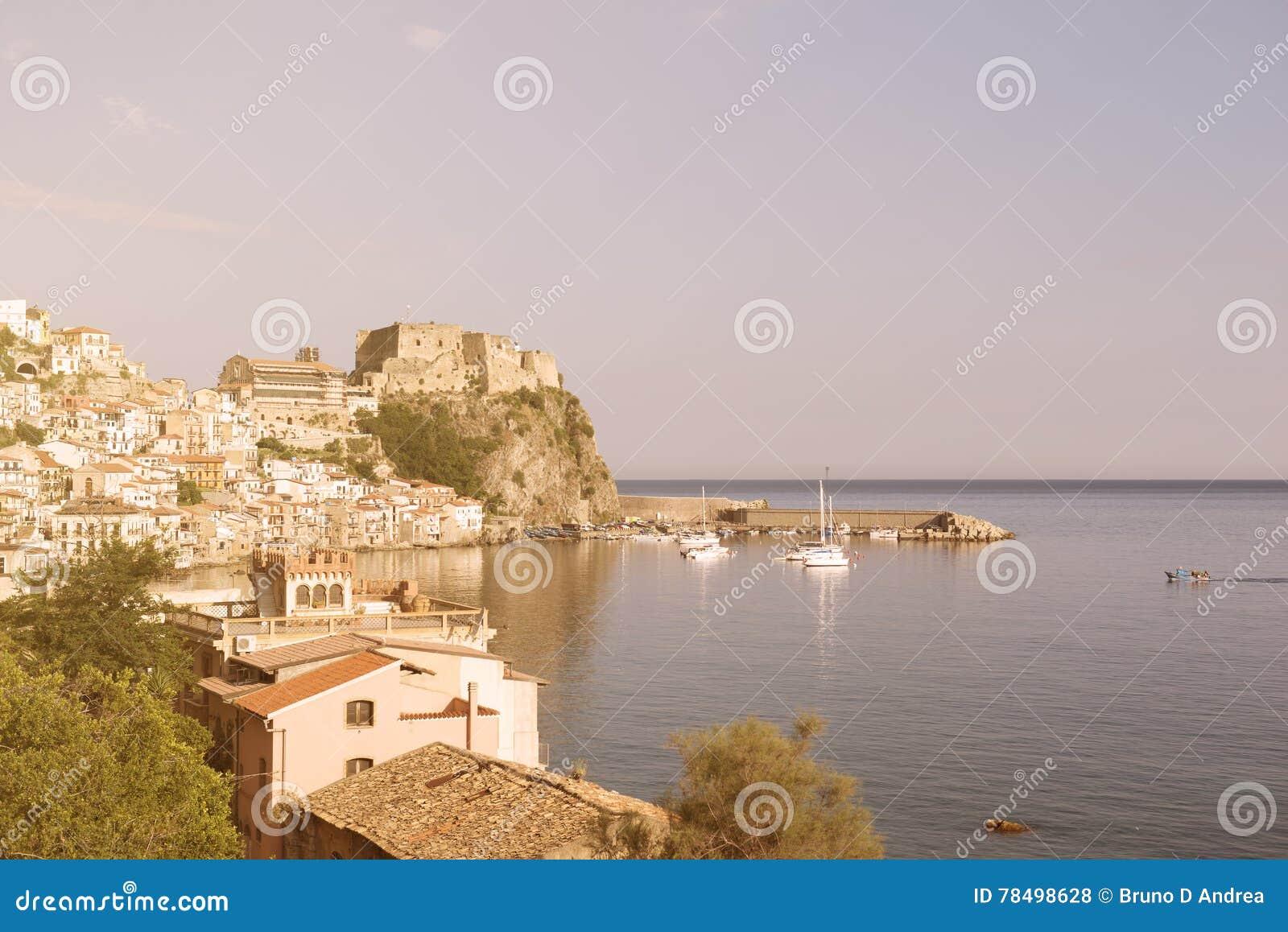 Small Calabrian town Scilla near strait