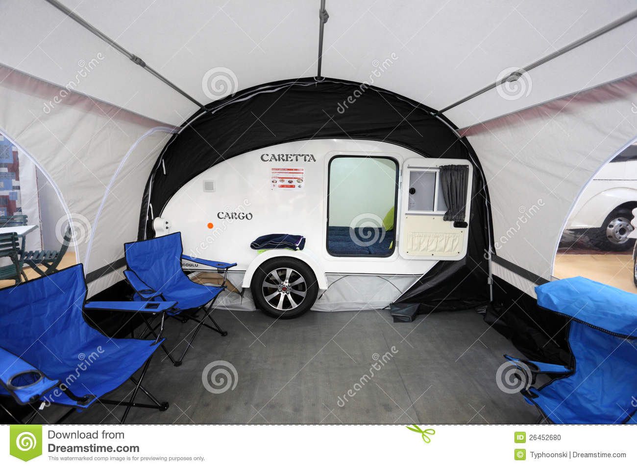 Small Camper Caretta With Awning Editorial Image - Image ...