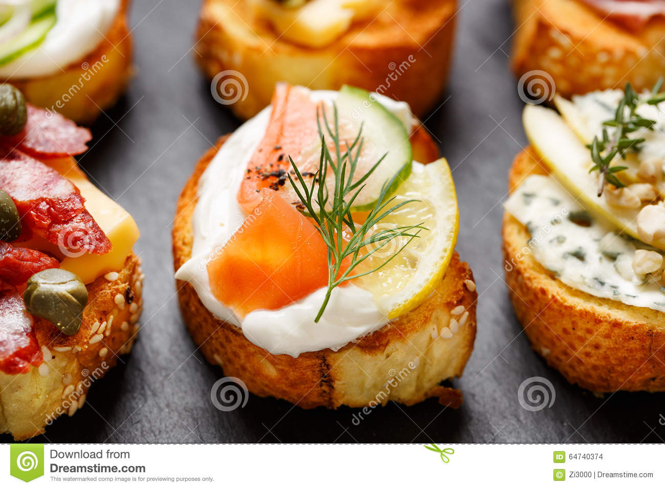 Small canape with grilled baguette with the addition for Smoked salmon cream cheese canape