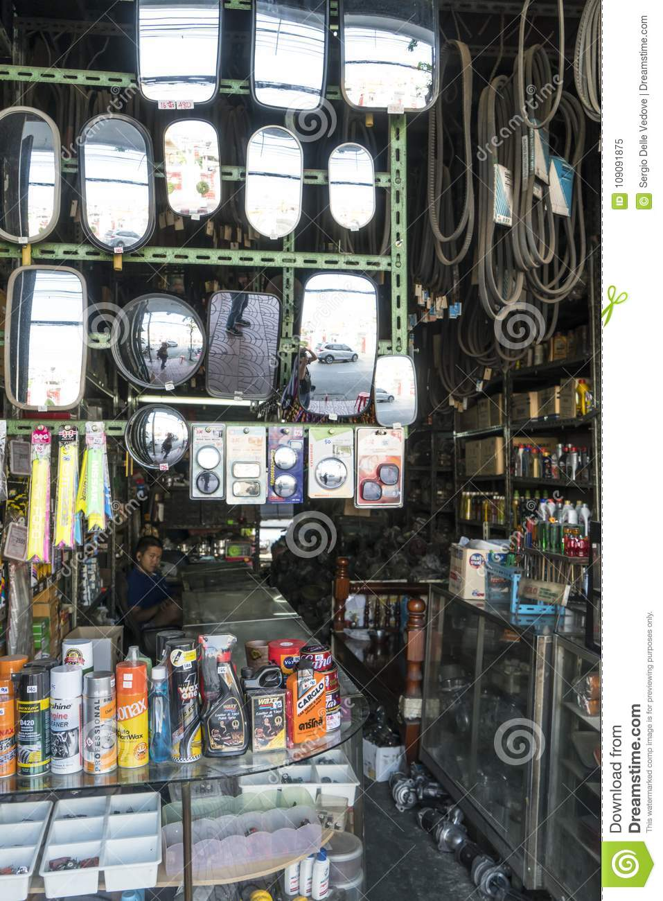 Rearview Mirrors In A Shop In Bangkok, Thailand Editorial Image