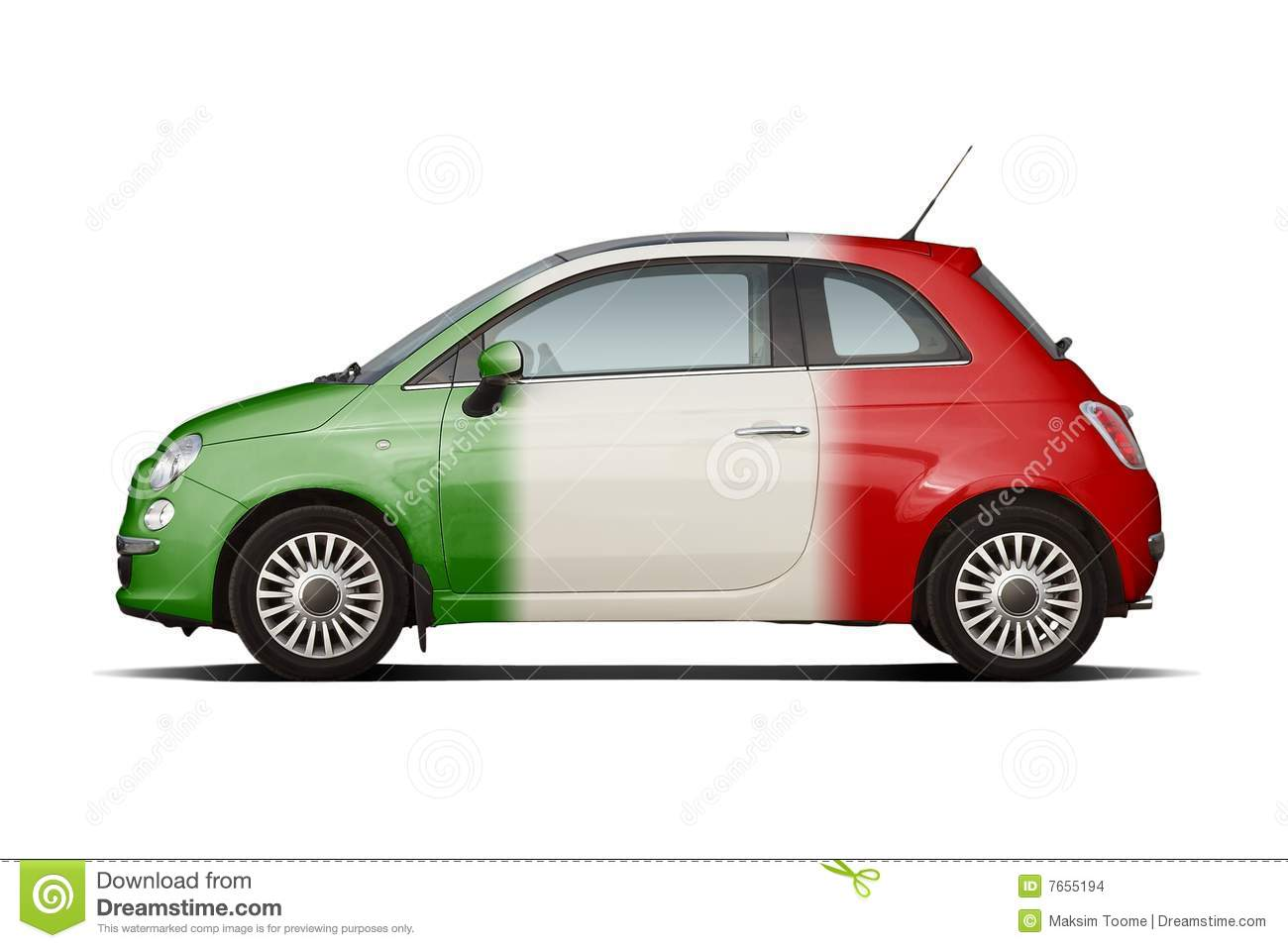 Small Car In Colors Of Italian Flag Stock Photo Image Of Flag