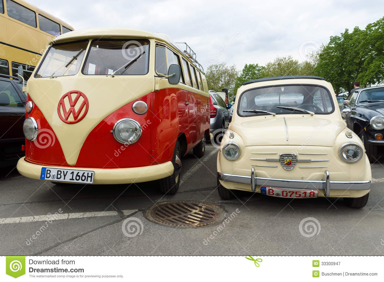 small car fiat abarth 750 and minibus volkswagen type 2. Black Bedroom Furniture Sets. Home Design Ideas
