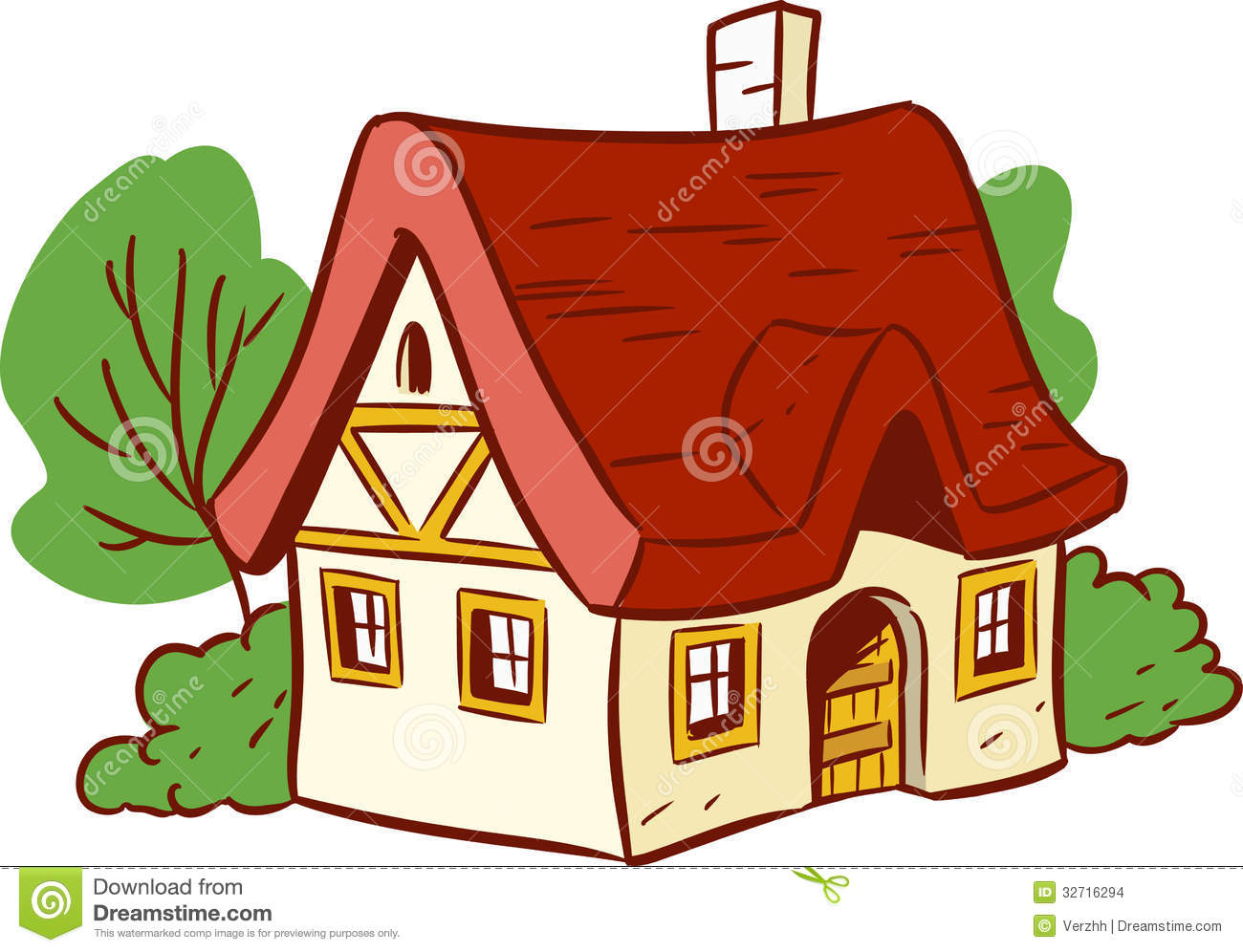 Small Cartoon House Illustration Shows Done Style Isolated White Background 32716294 1300x996
