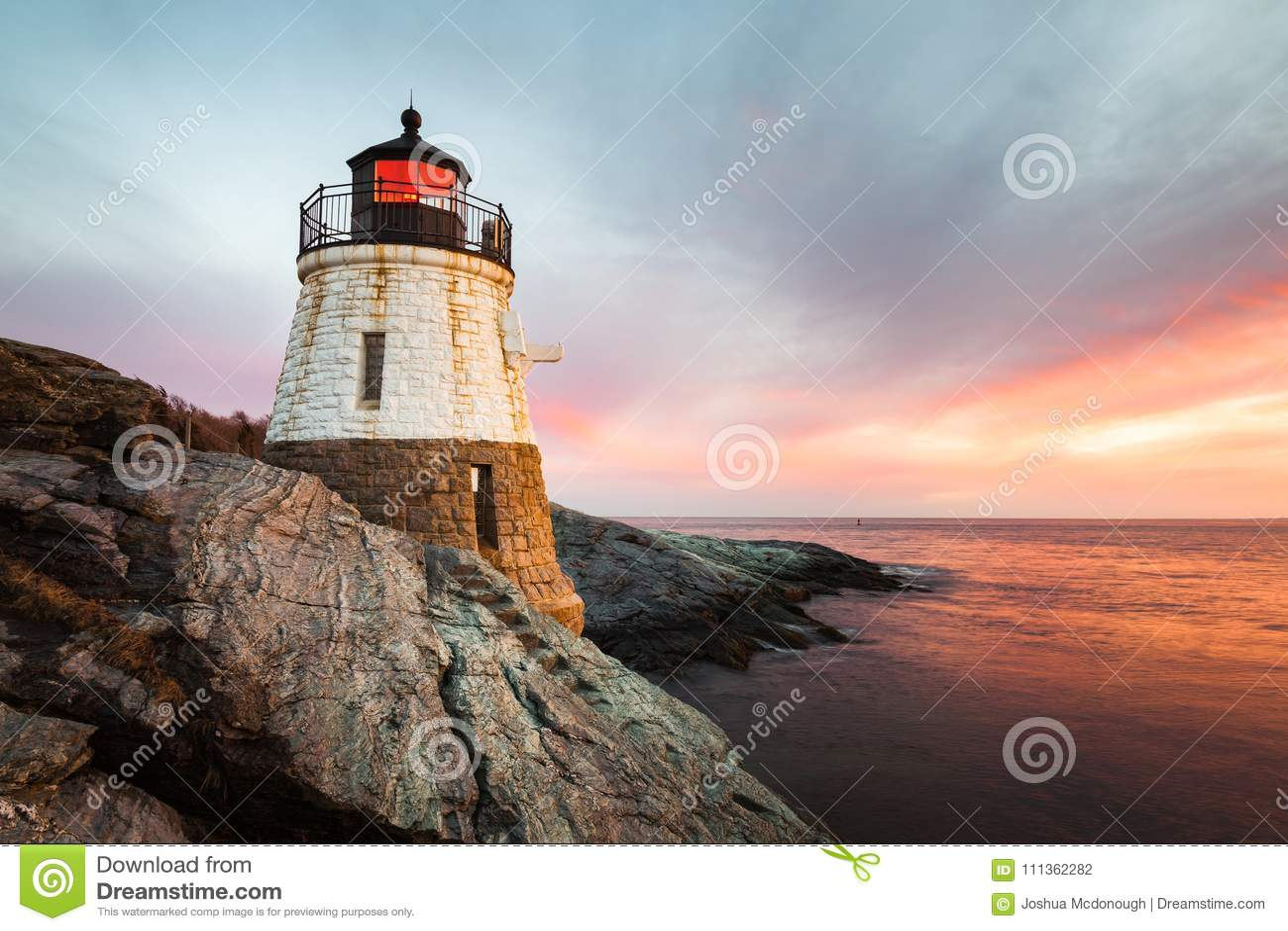 Castle Hill Lighthouse Newport Rhode Island at Sunset