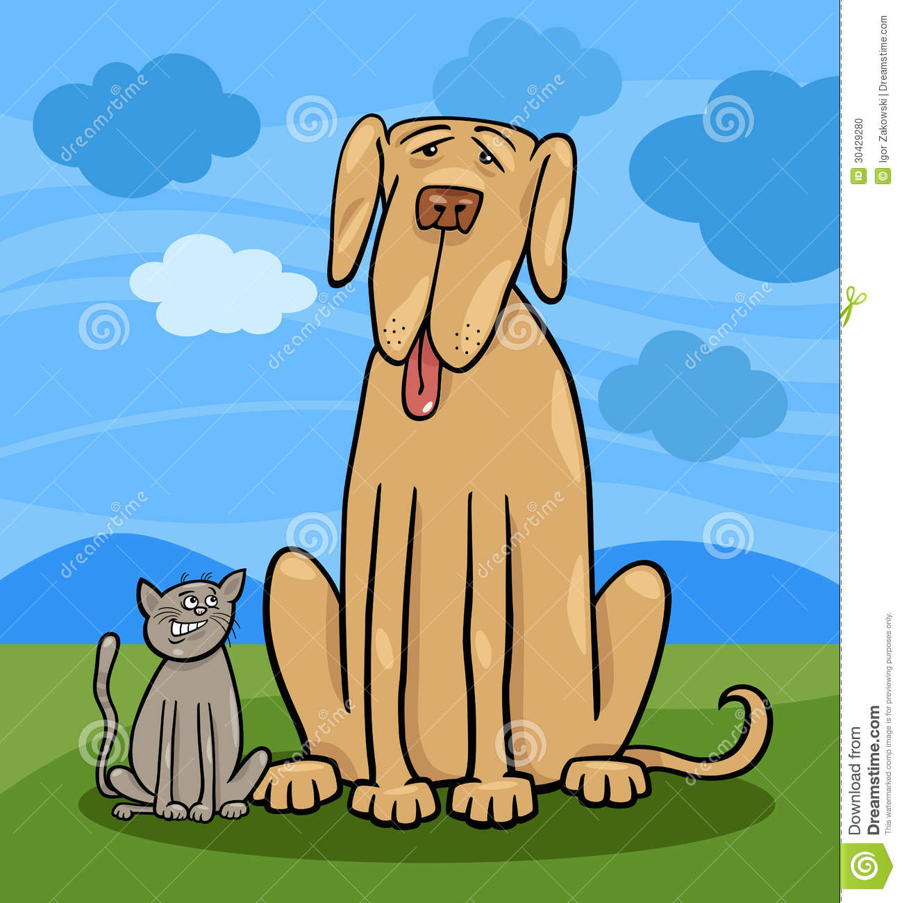 Cartoon Illustration of Cute Small Cat and Funny Big Dog or Great Dane ...