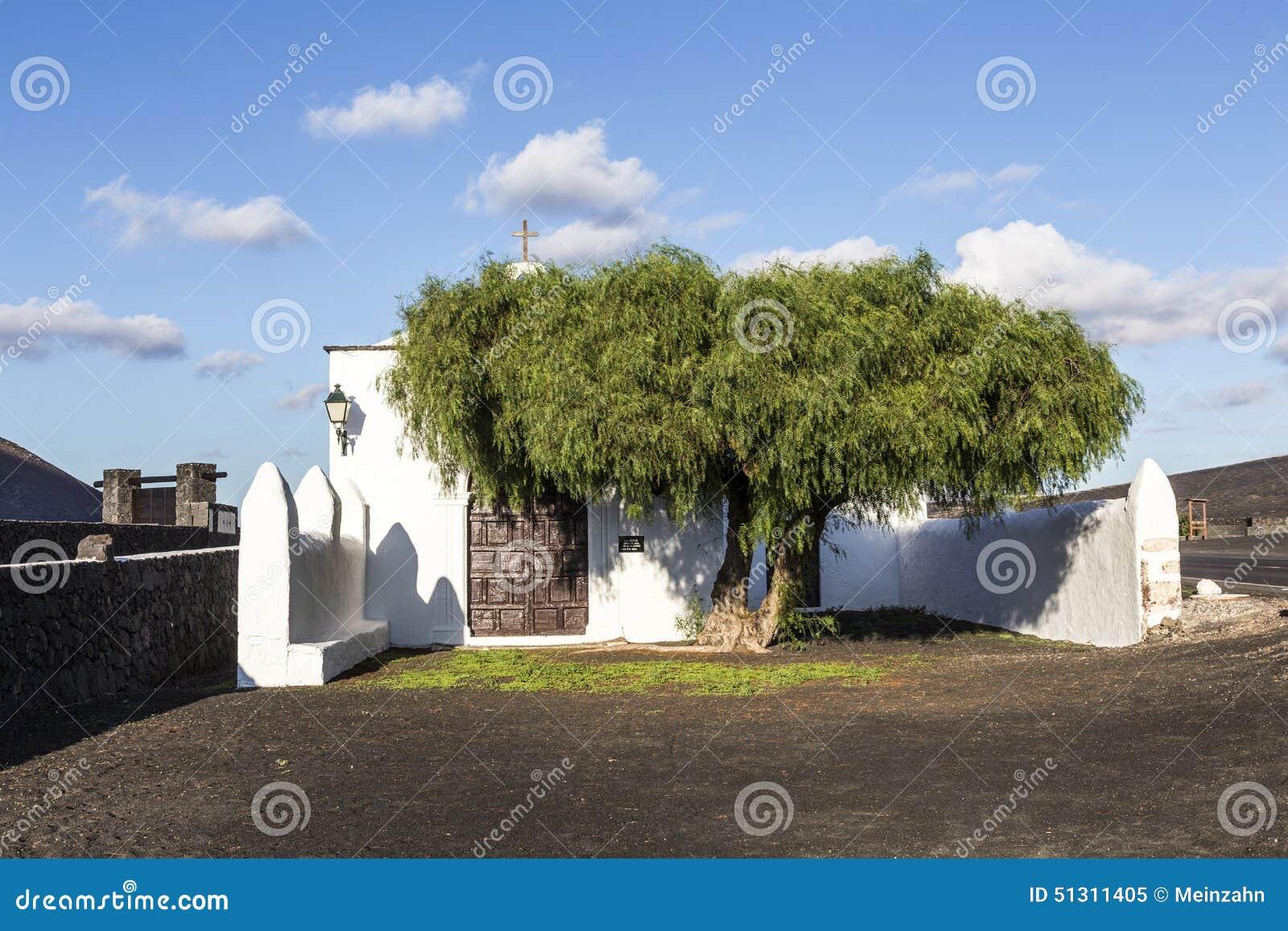 Small chapel in rural area of La Geria in Lanzarote