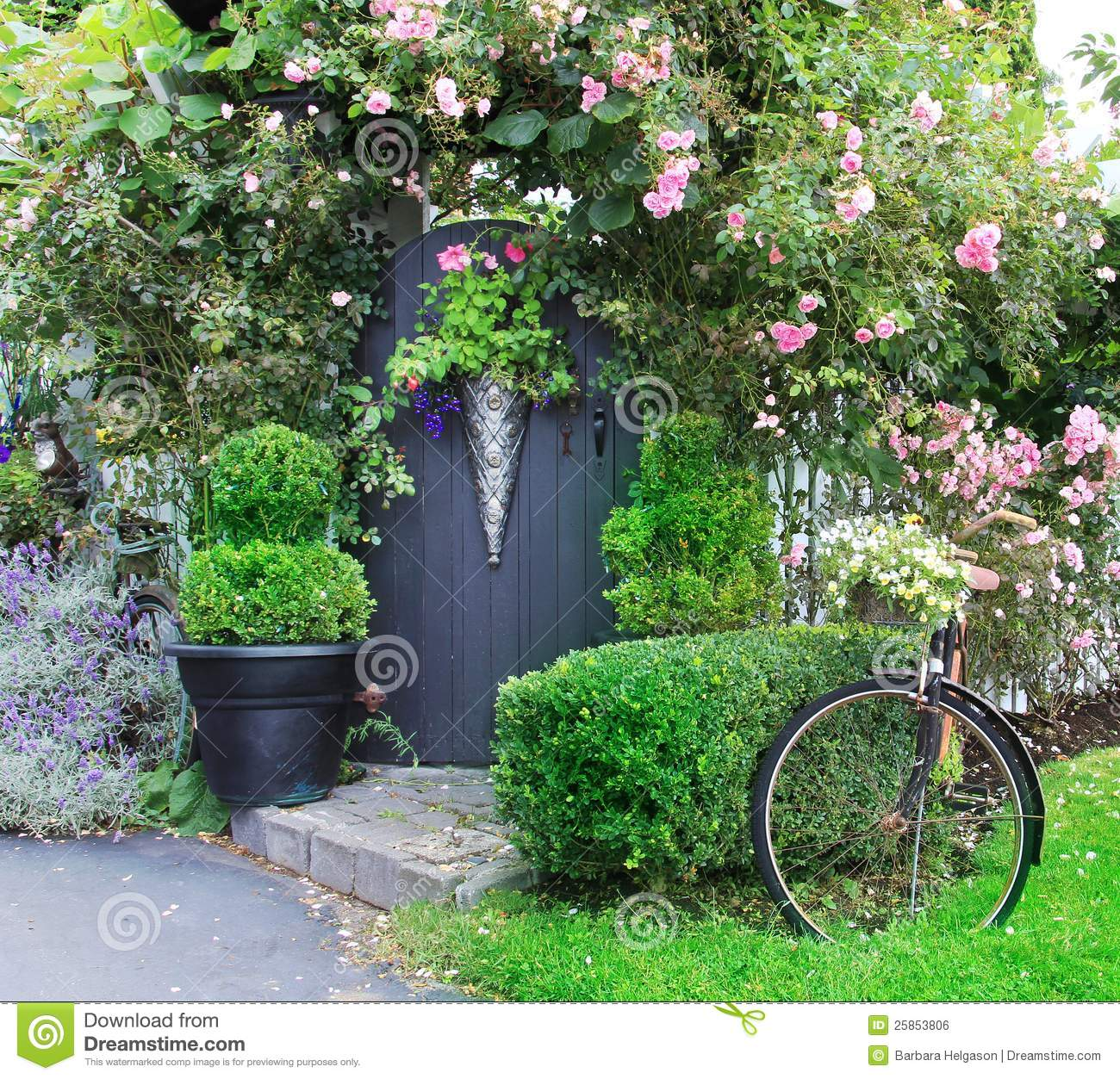 Small Charming Garden Gate Stock Photo Image Of Bike
