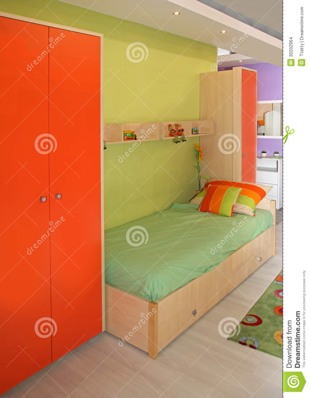 Green Orange Small Apartment Living Room Decor: Kids Bedroom Stock Images