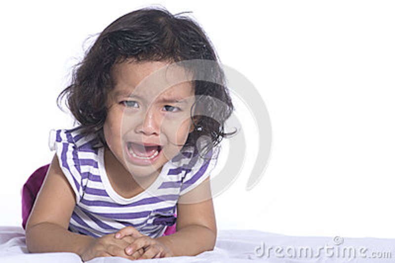 Small child is crying white background.