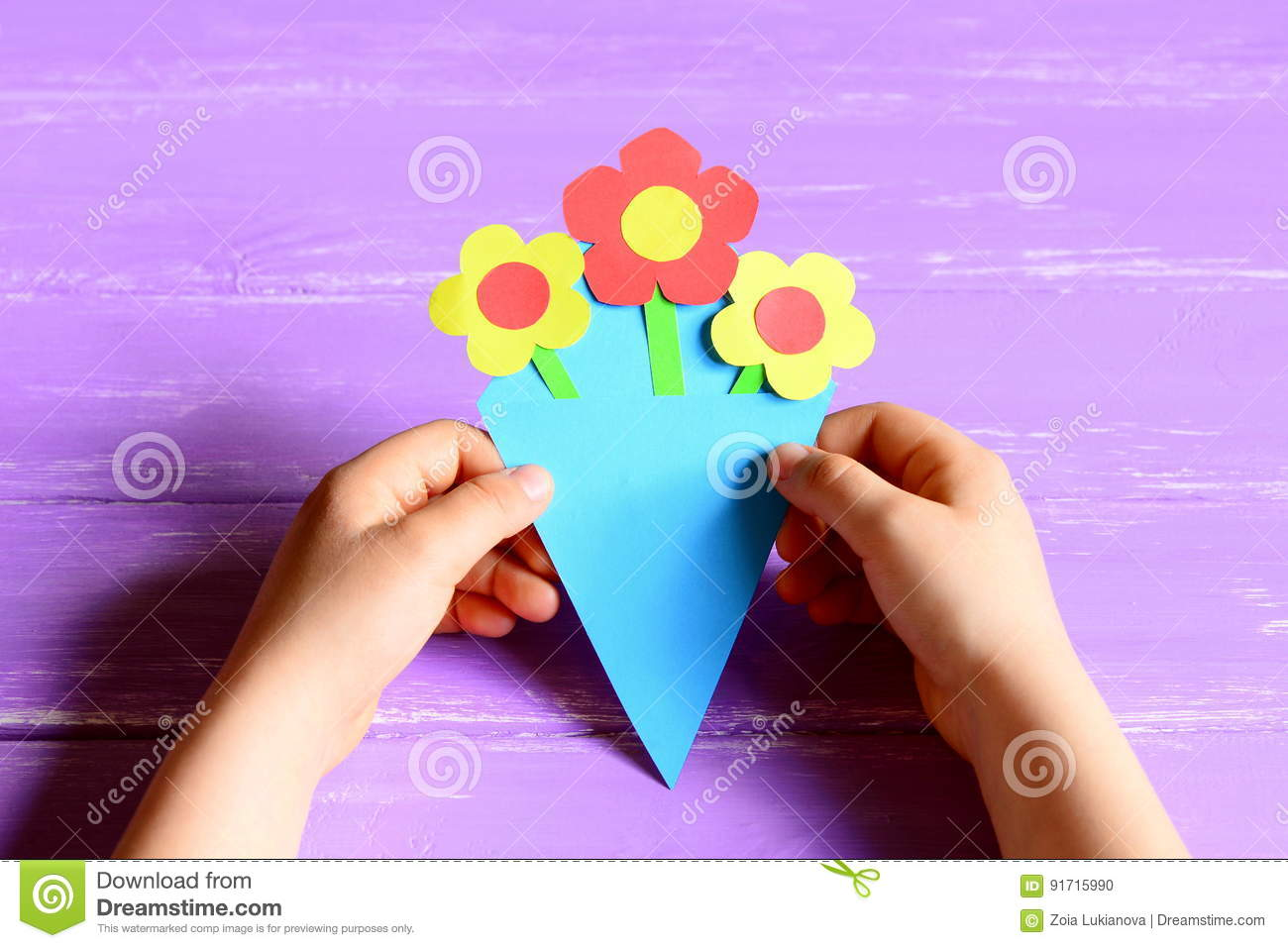 Small Child Made Paper Flowers Crafts For Mothers Day Or Birthday