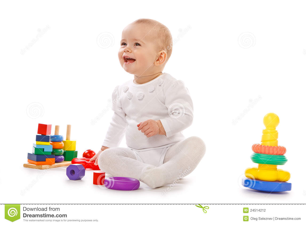 Toddler Toys Photography : Small child play with toys on white background stock