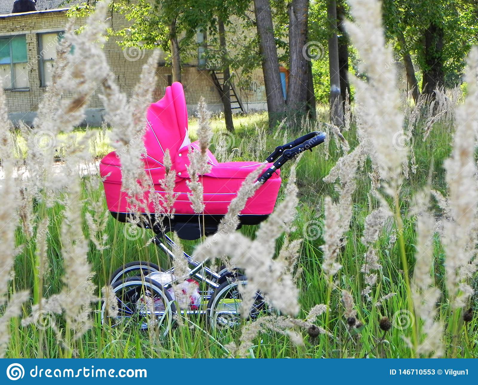 A small child in a pram. Beautiful stroller on the background of nature. Details and close-up.