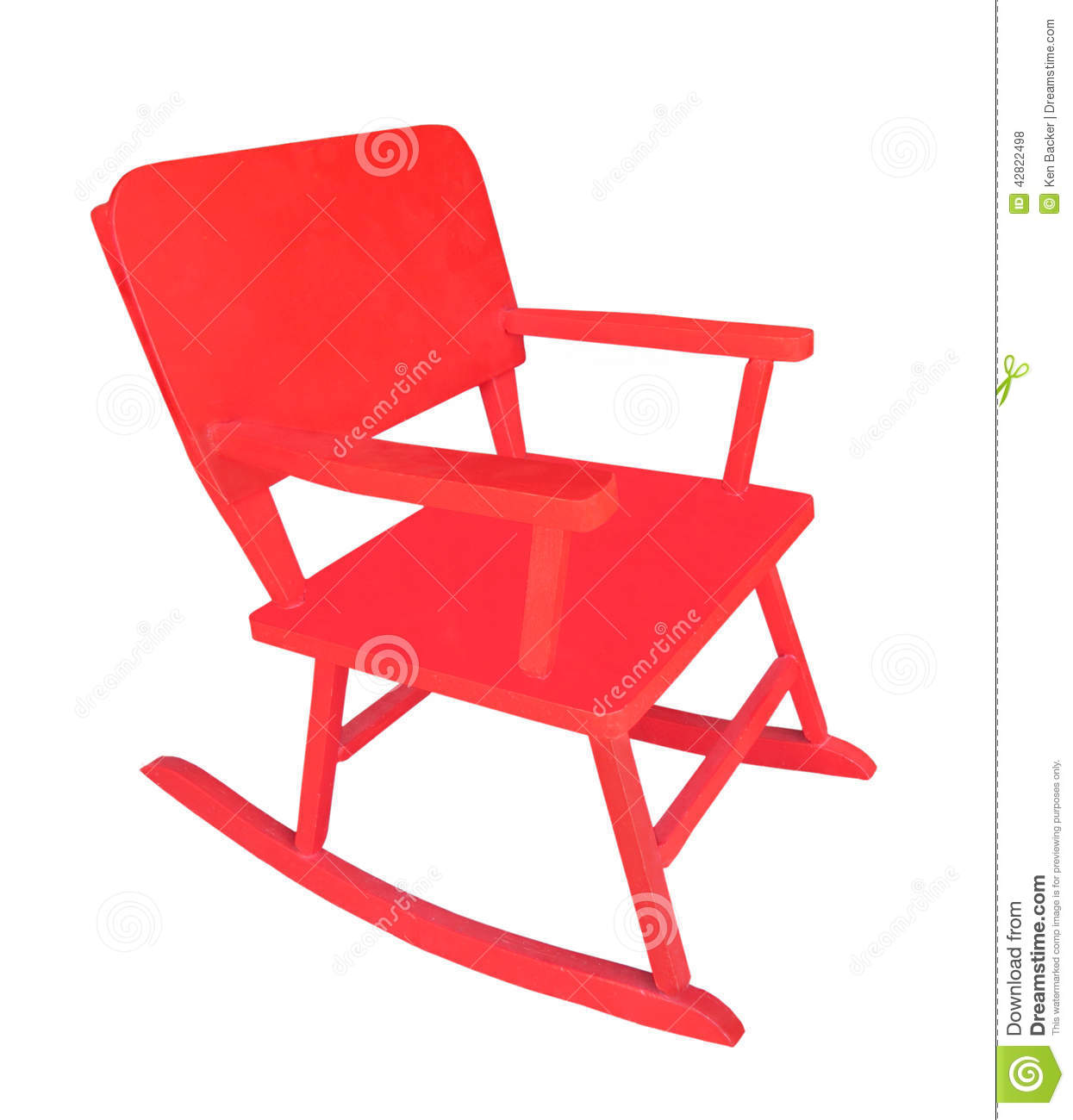 Child Red Rocking Chair ~ Small child s red rocking chair isolated stock photo