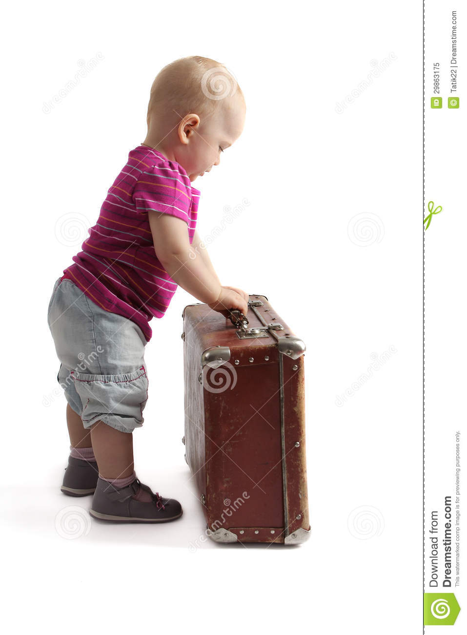 Small Child Standing Next To A Suitcase Royalty Free Stock Photo ...