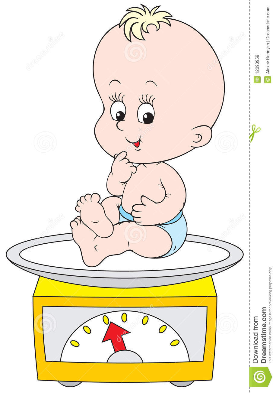 Small Child Weighed On The Scales Royalty Free Stock Photos - Image ...