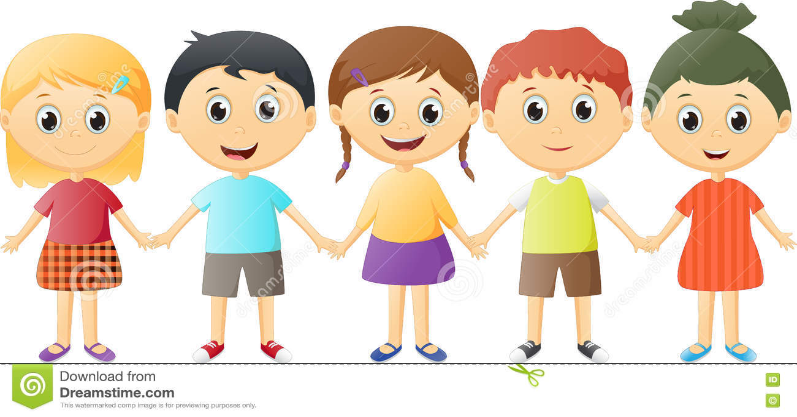 Small Children Holding Hands Stock Vector