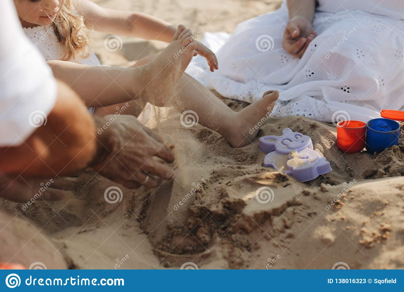 Small Childs Feet In The Sand A Small Feet Of Little Girls Rest In