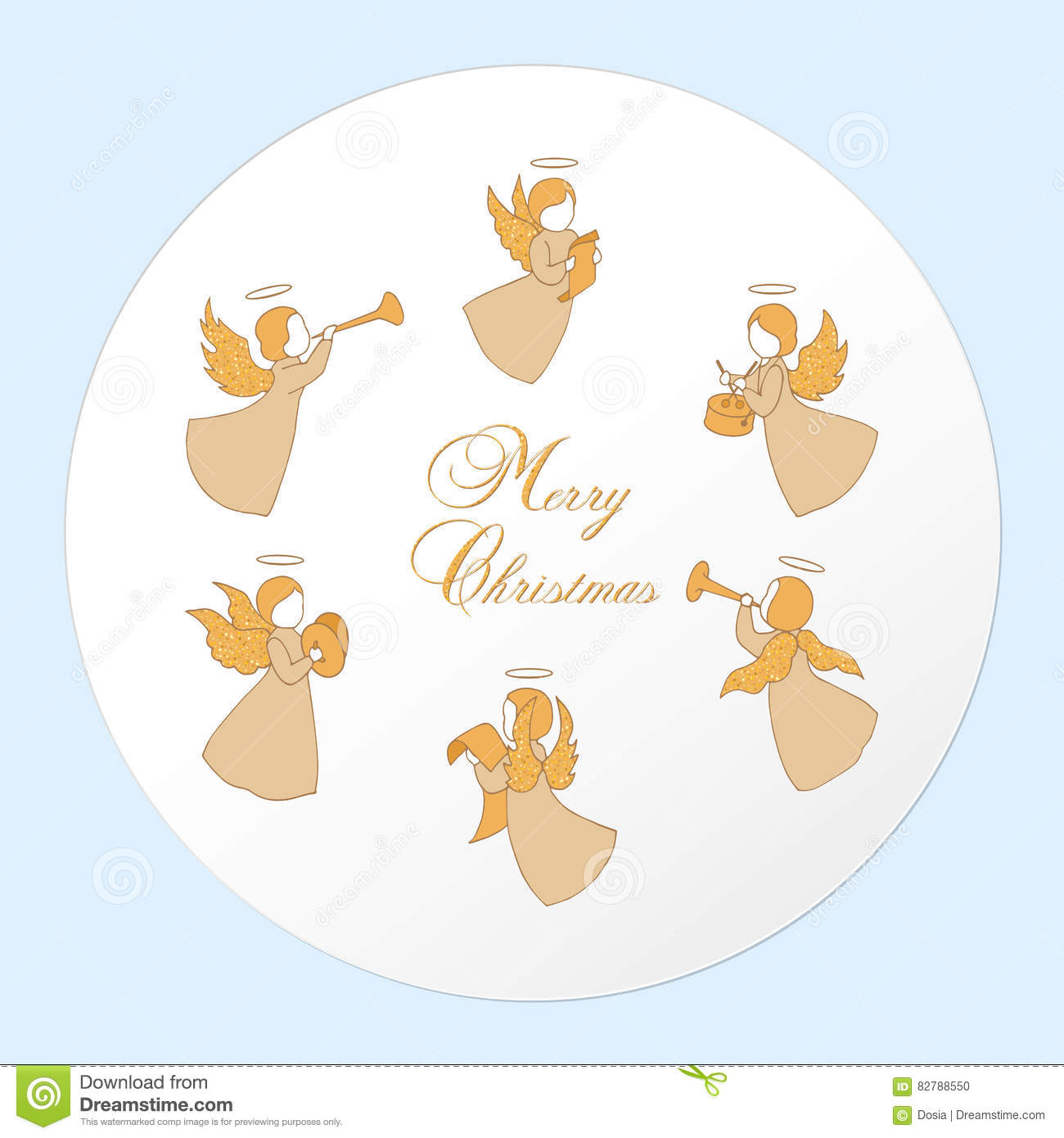 Small Christmas Angels Musicians Stock Vector - Illustration of gift ...