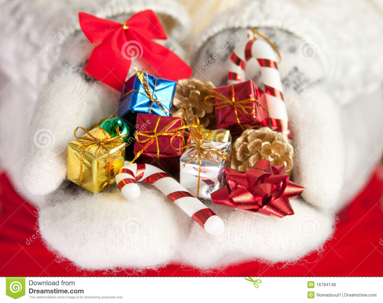 Small christmas gifts in palms of hands royalty free stock for Small christmas ideas