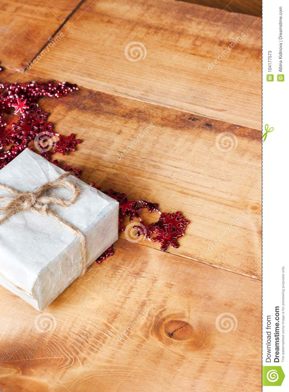 Small Christmas Handmade Gift Boxes On Wooden Background Stock