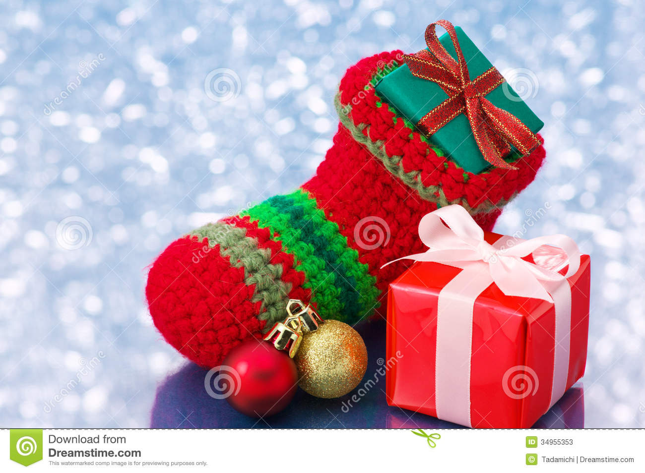 download small christmas stocking and presents on white sparkle backgroun stock image image of glitter