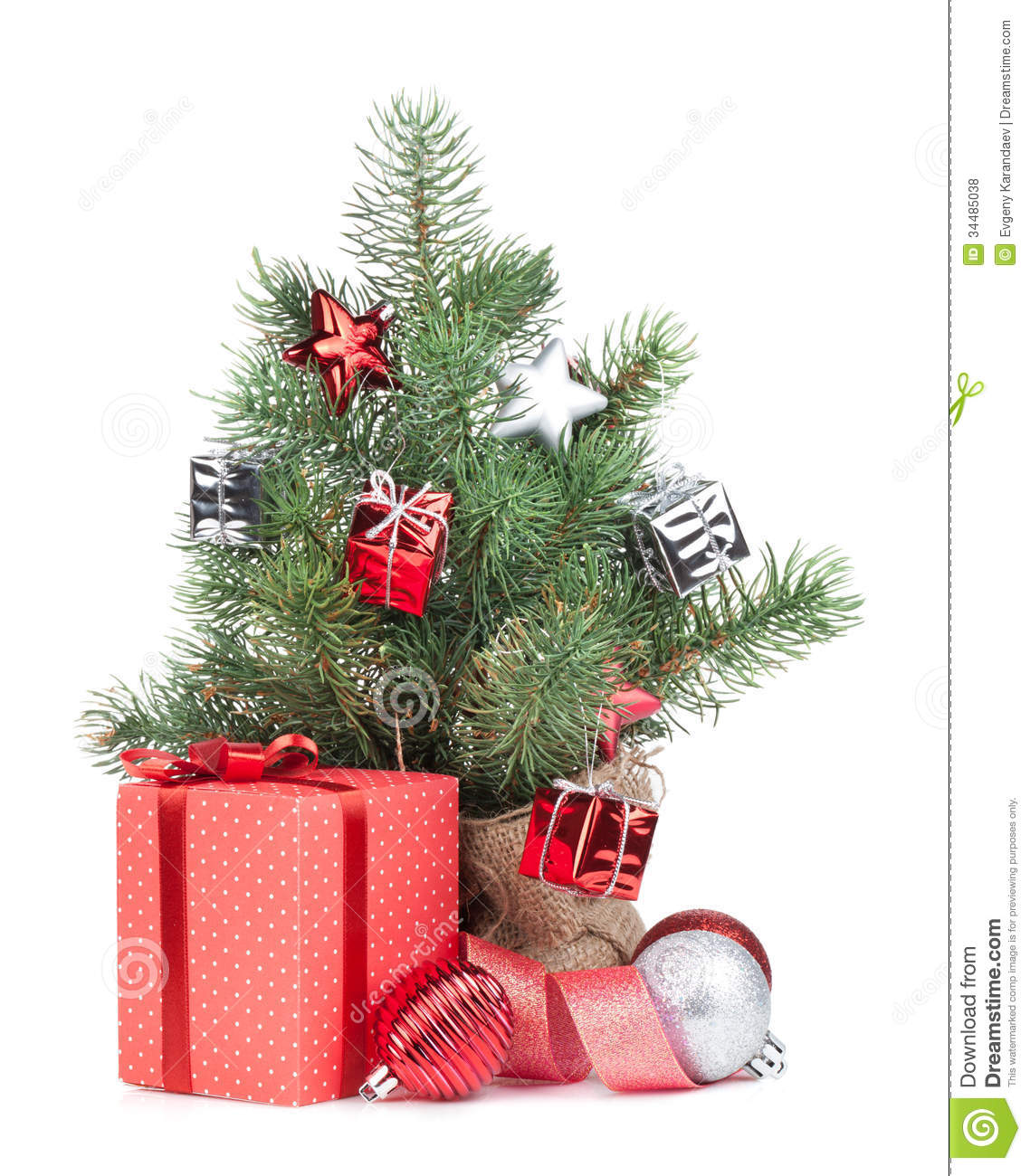 Small Christmas Tree With Decor And Gift Box Royalty Free Stock ...