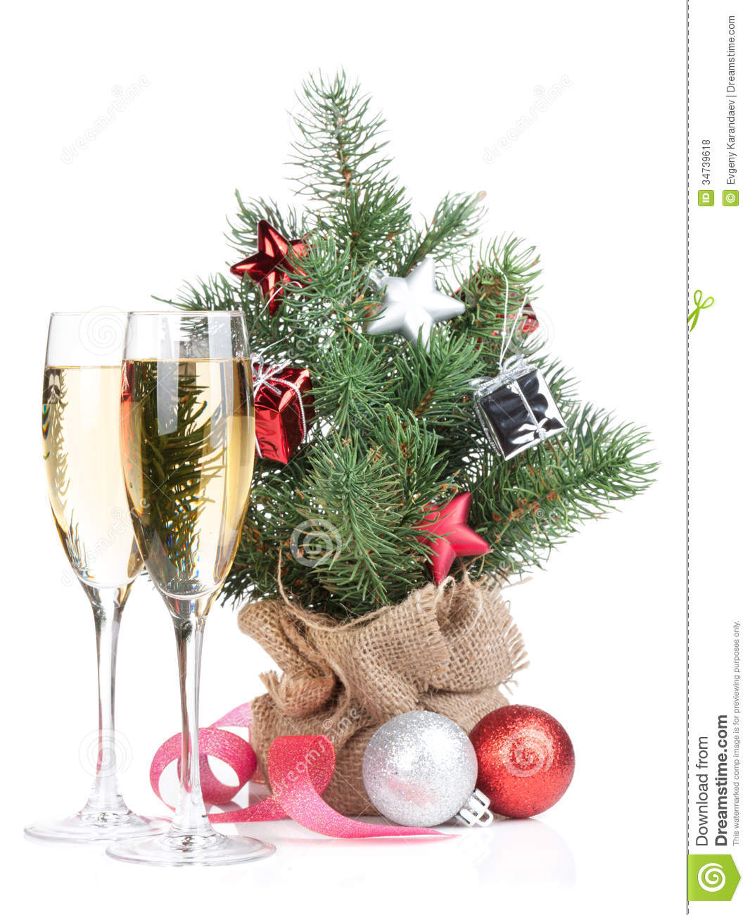 Small christmas tree with decor and two champagne glasses for Small christmas decorations