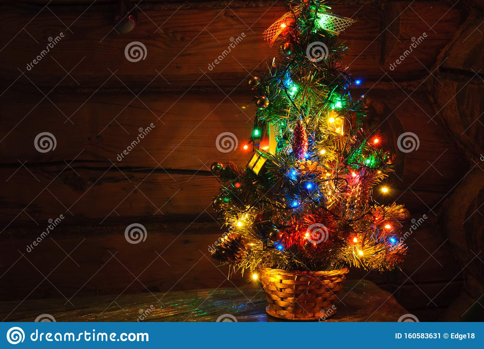 Small Christmas Tree With Multi Colored Lights At Dark Countryside Room Stock Image Image Of Natural Background 160583631