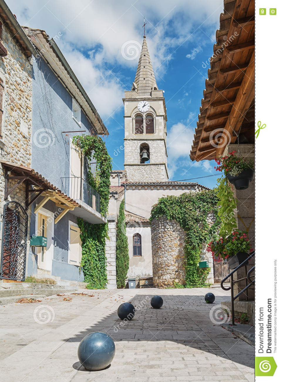 Small Church In The French Village Vallon Pont D Arc Stock