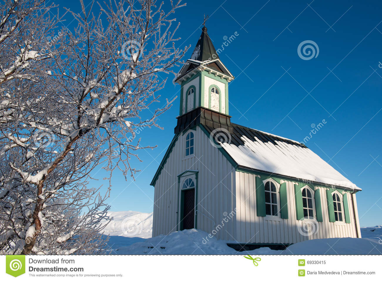 Small Church in Thingvellir national park at winter, Iceland