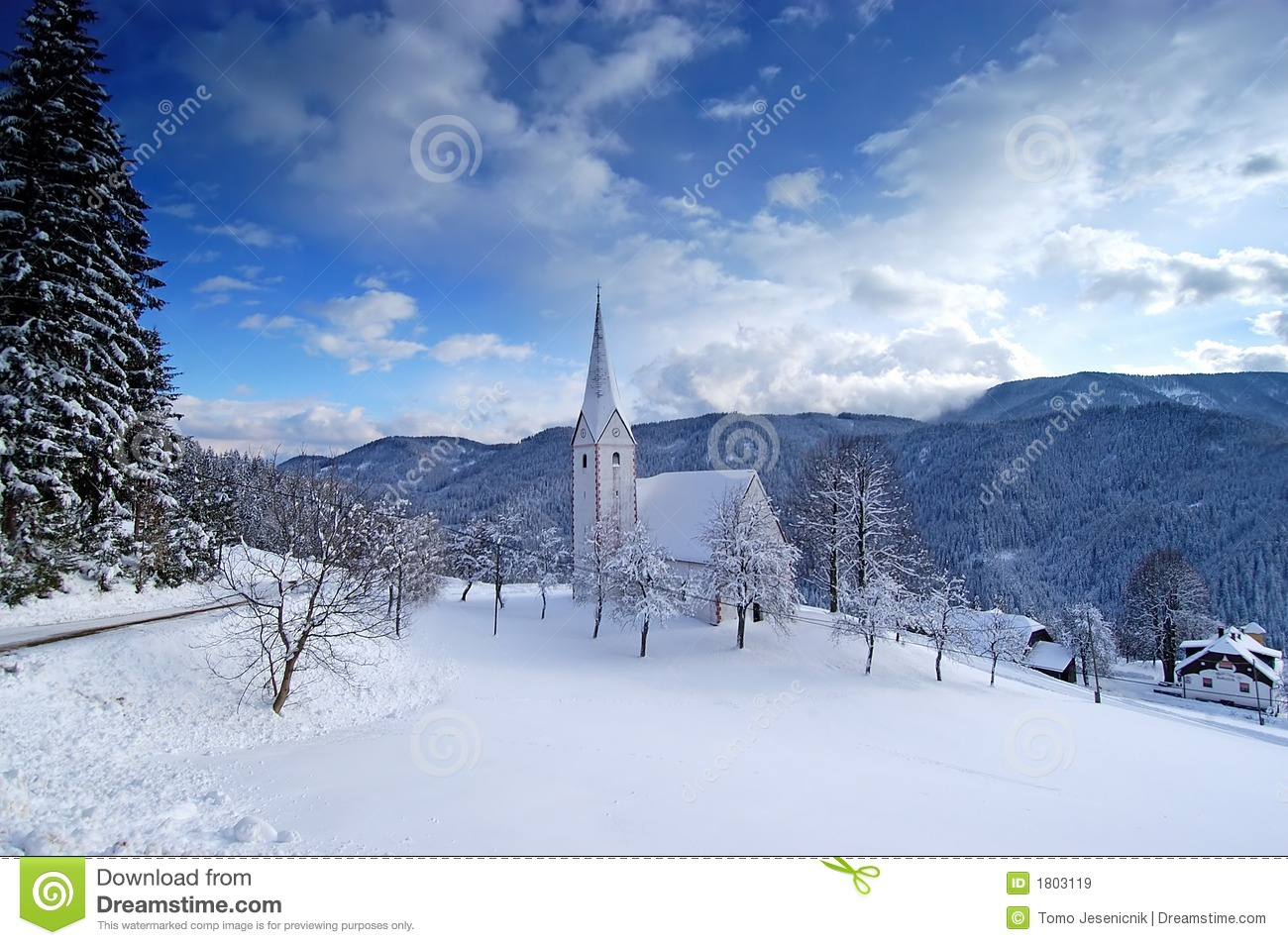 Small church in winter stock image. Image of church, cold - 1803119