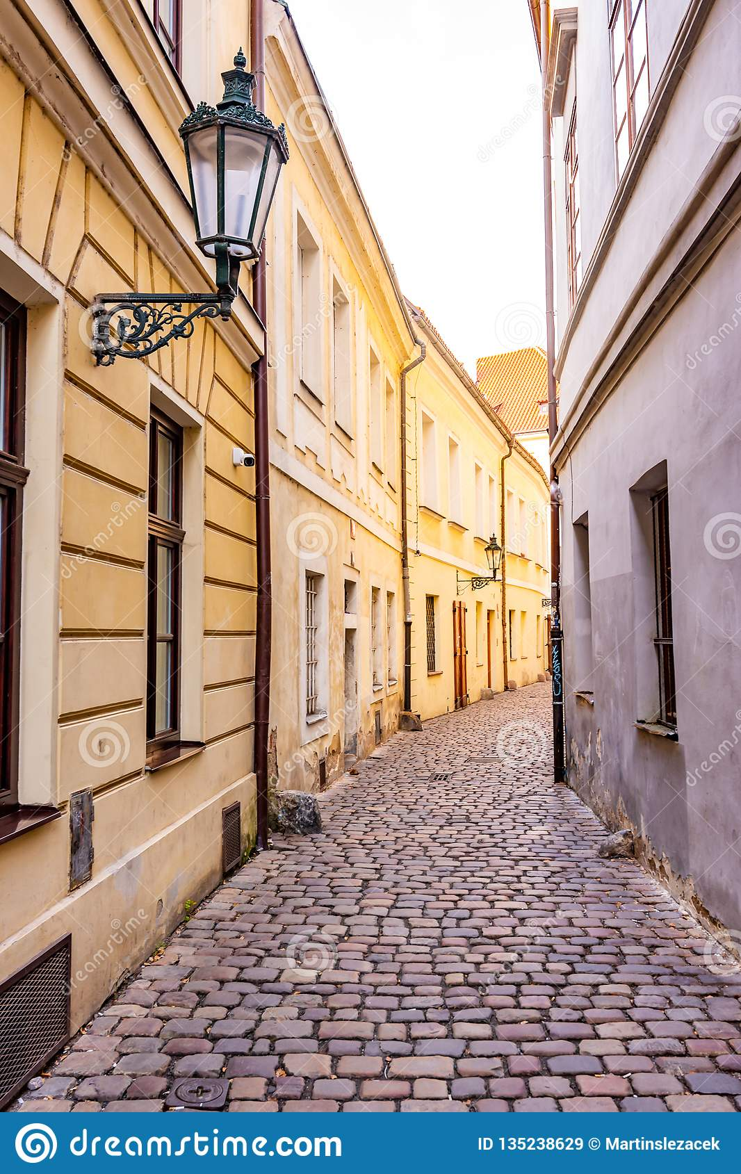 Small city street in centre of Prague, Czech republic