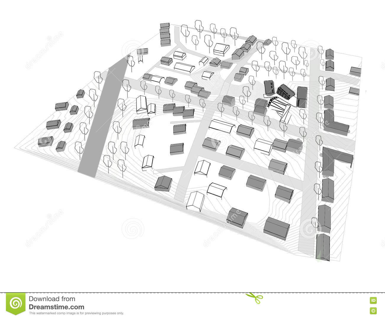 Small city urban spaces in 3d model stock illustration image 72856272 - Small urban spaces image ...