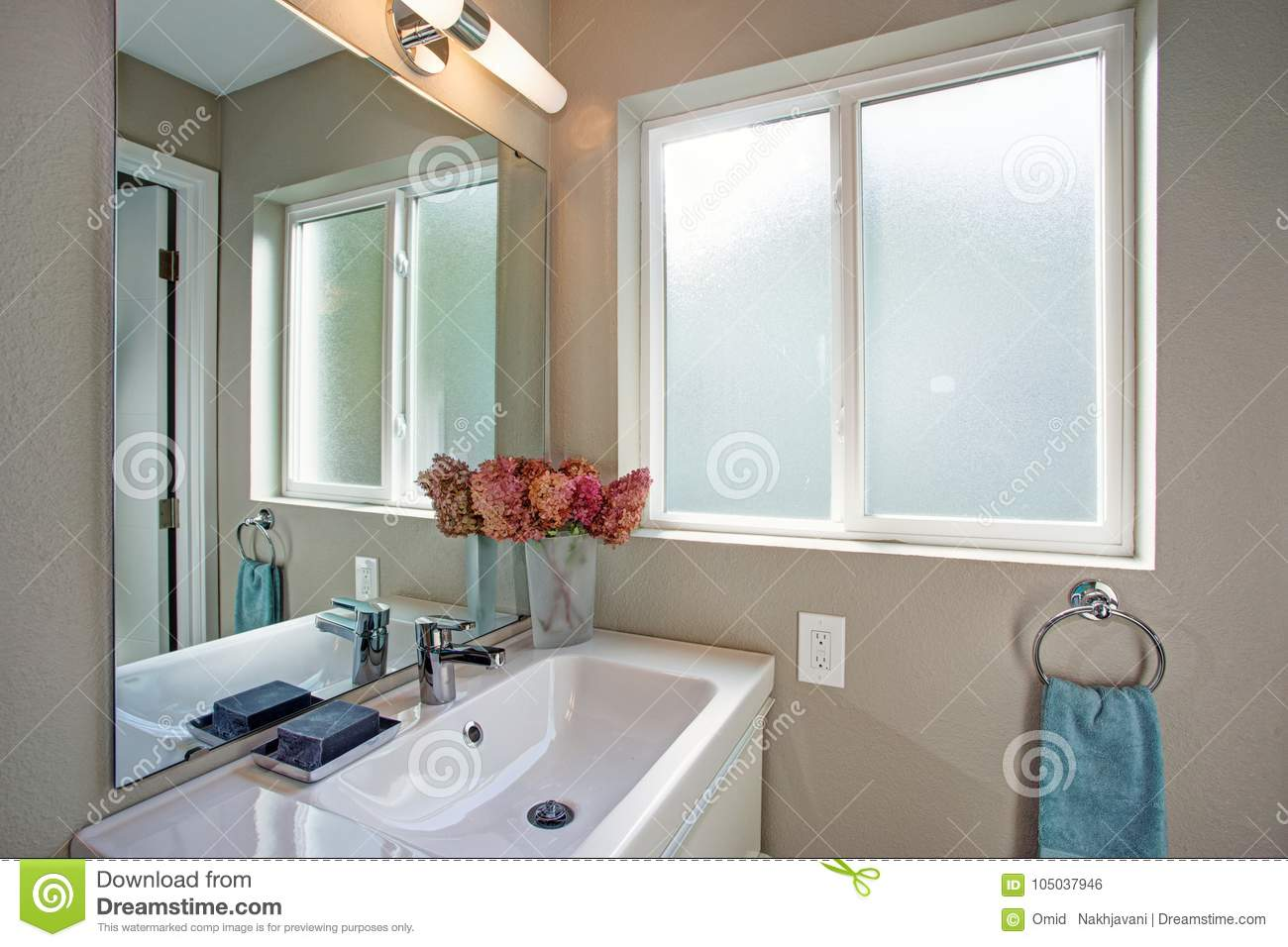 Brilliant Small Bathroom With Vanity Cabinet And Gray Walls Stock Home Interior And Landscaping Mentranervesignezvosmurscom