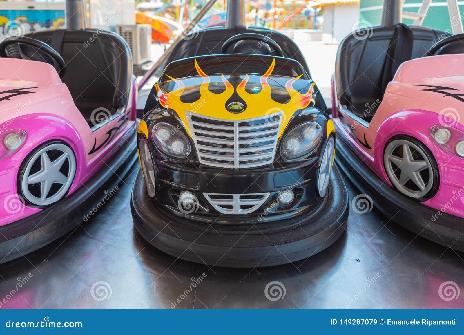 Small colored bumper cars for children