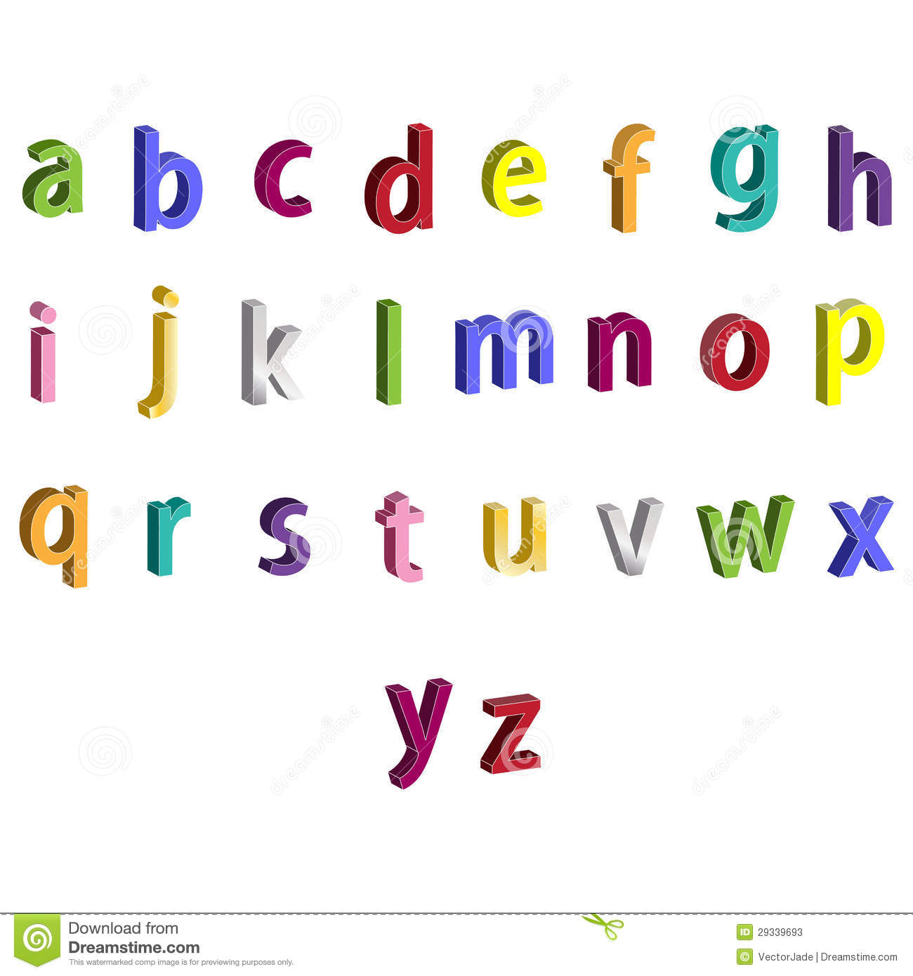 letters that start with z small colorful alphabet 3d letters stock illustration 3343