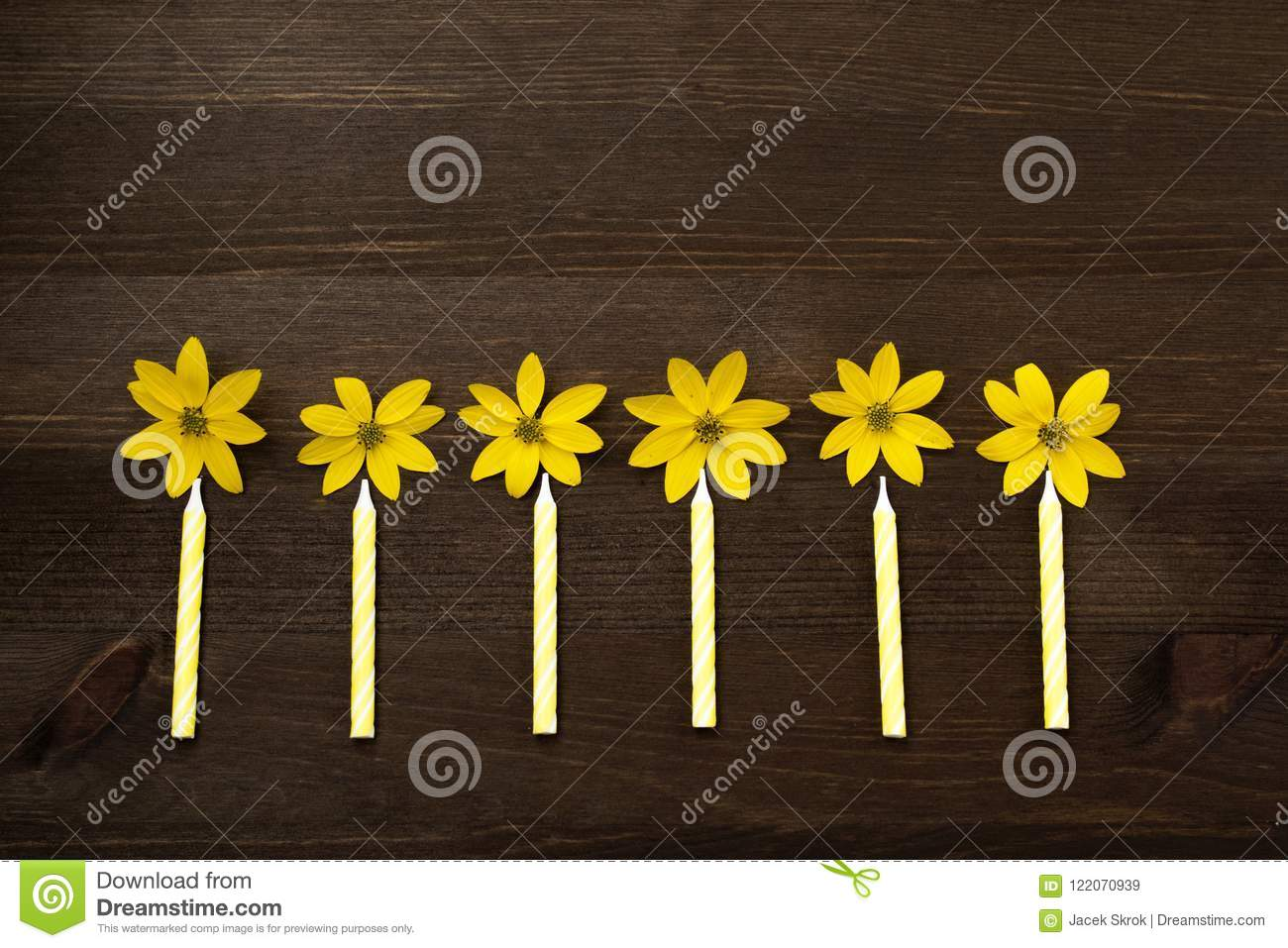 Small Yellow Birthday Candles Arranged In A Row With Flowers Like Flames On Brown Background Top View