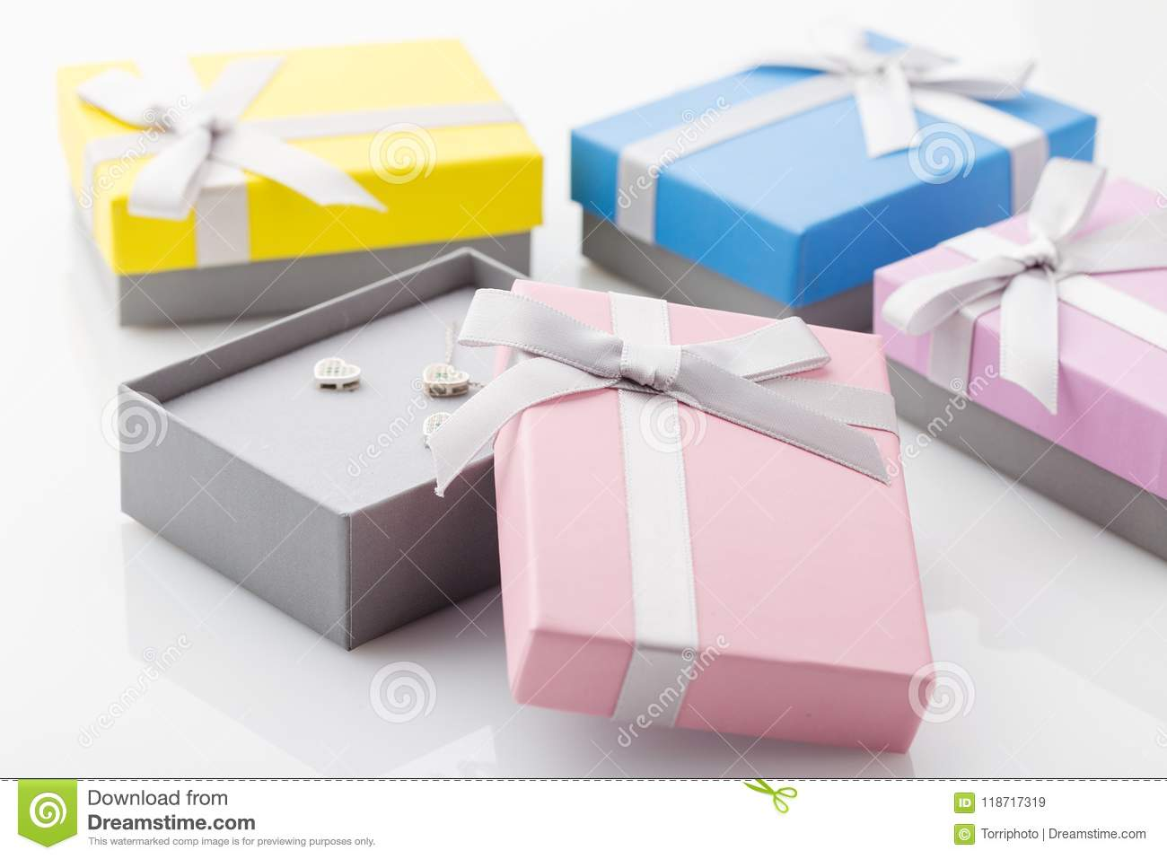 Small Colorful Paper Gift Boxes For Jewelry On White Background