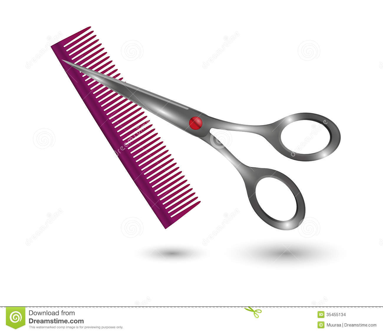 Small Comb And Scissors Stock Images - Image: 35455134