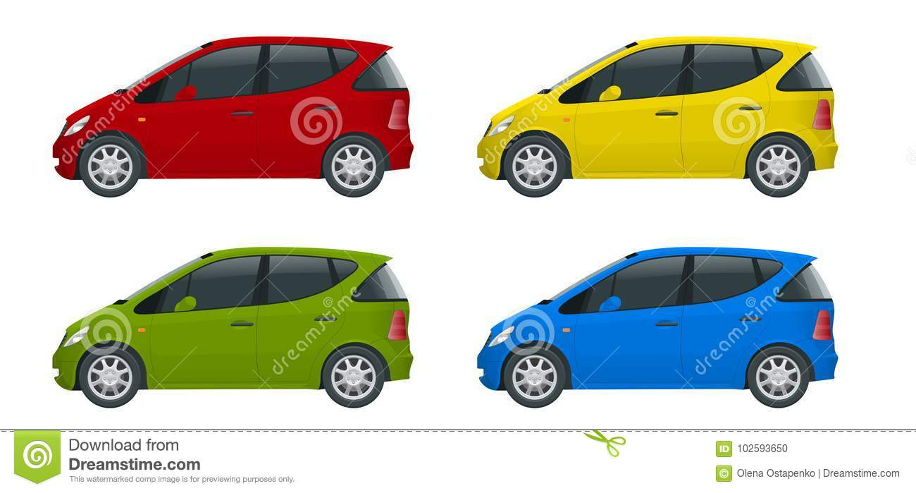 Small Compact Electric Vehicle Or Hybrid Cars. Eco-friendly Hi-tech ...