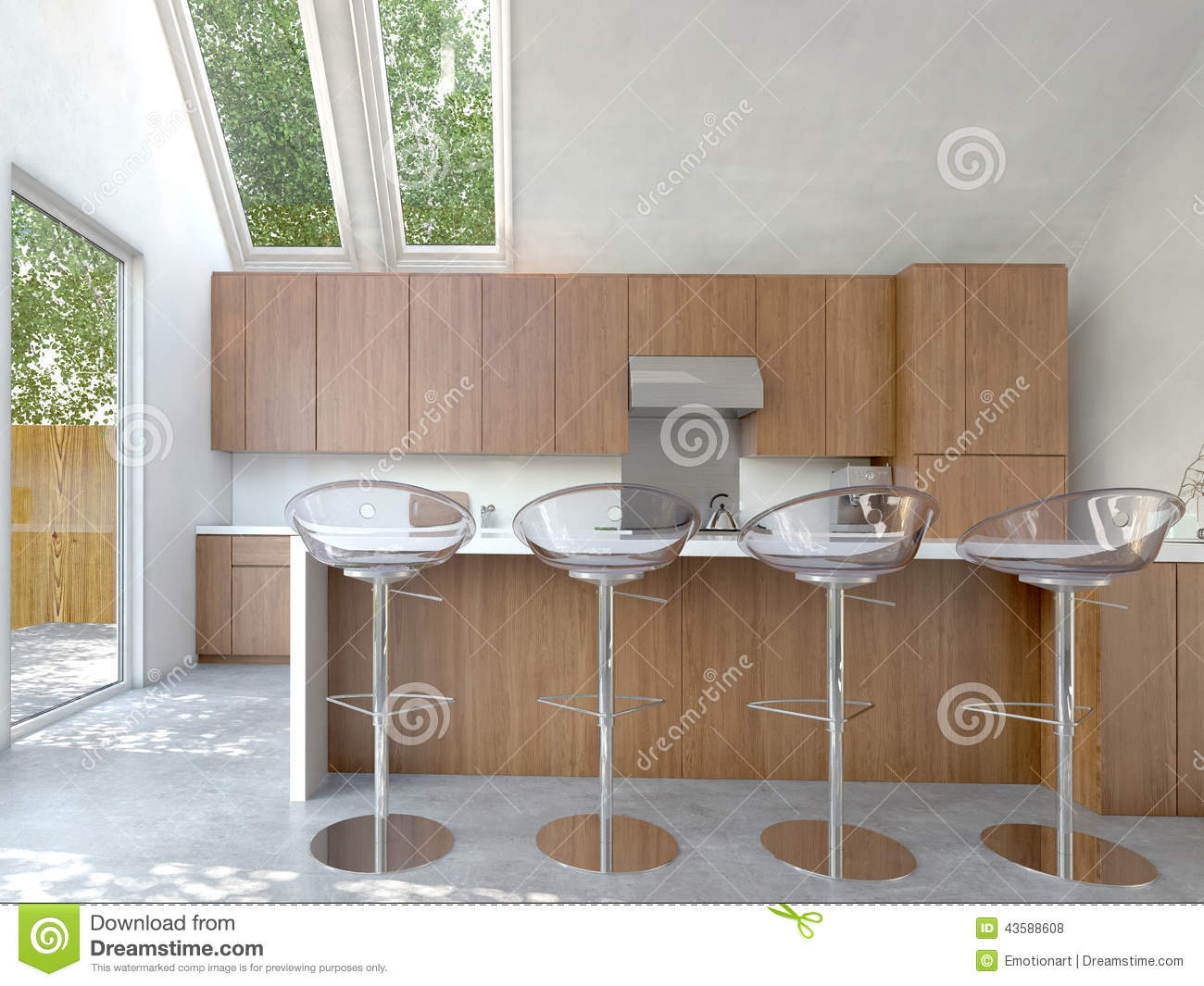Small Modular Open Kitchen : Small compact open-plan kitchen or kitchenette interior with wooden ...