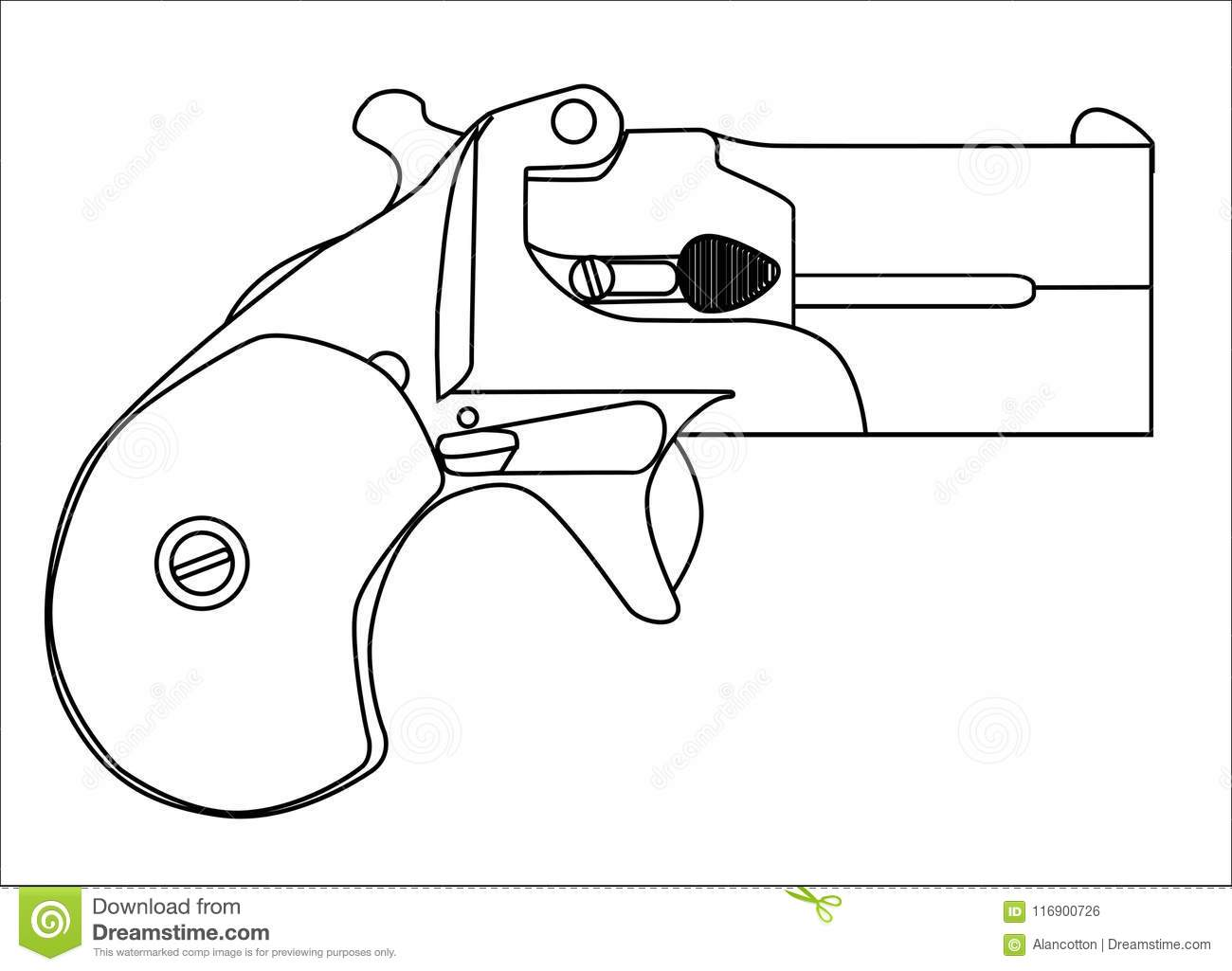 Small Derringer Pistol Isolated Line Drawing Stock Vector