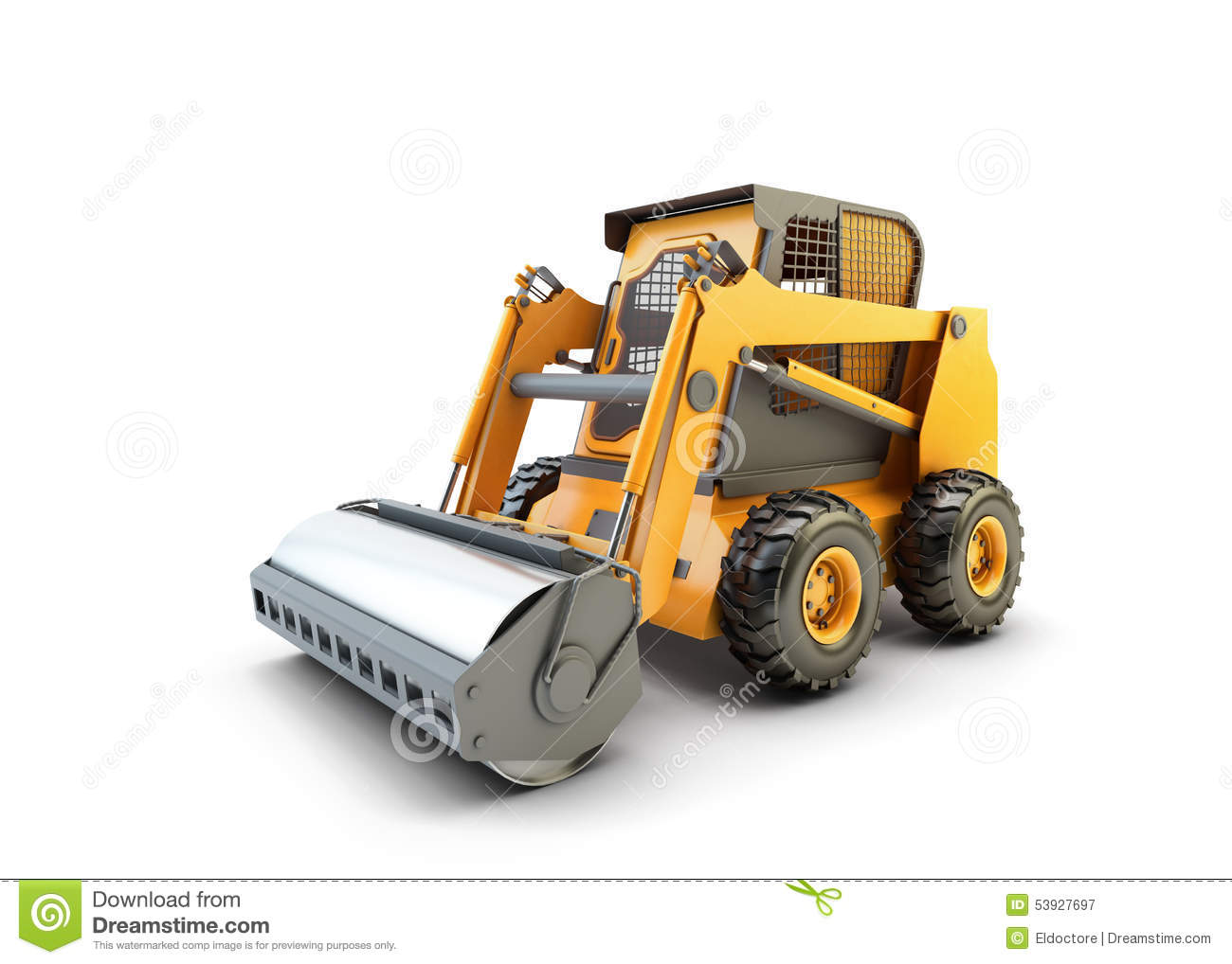 Small Tractor Cartoon : Small isolated tractor loader royalty free stock photo