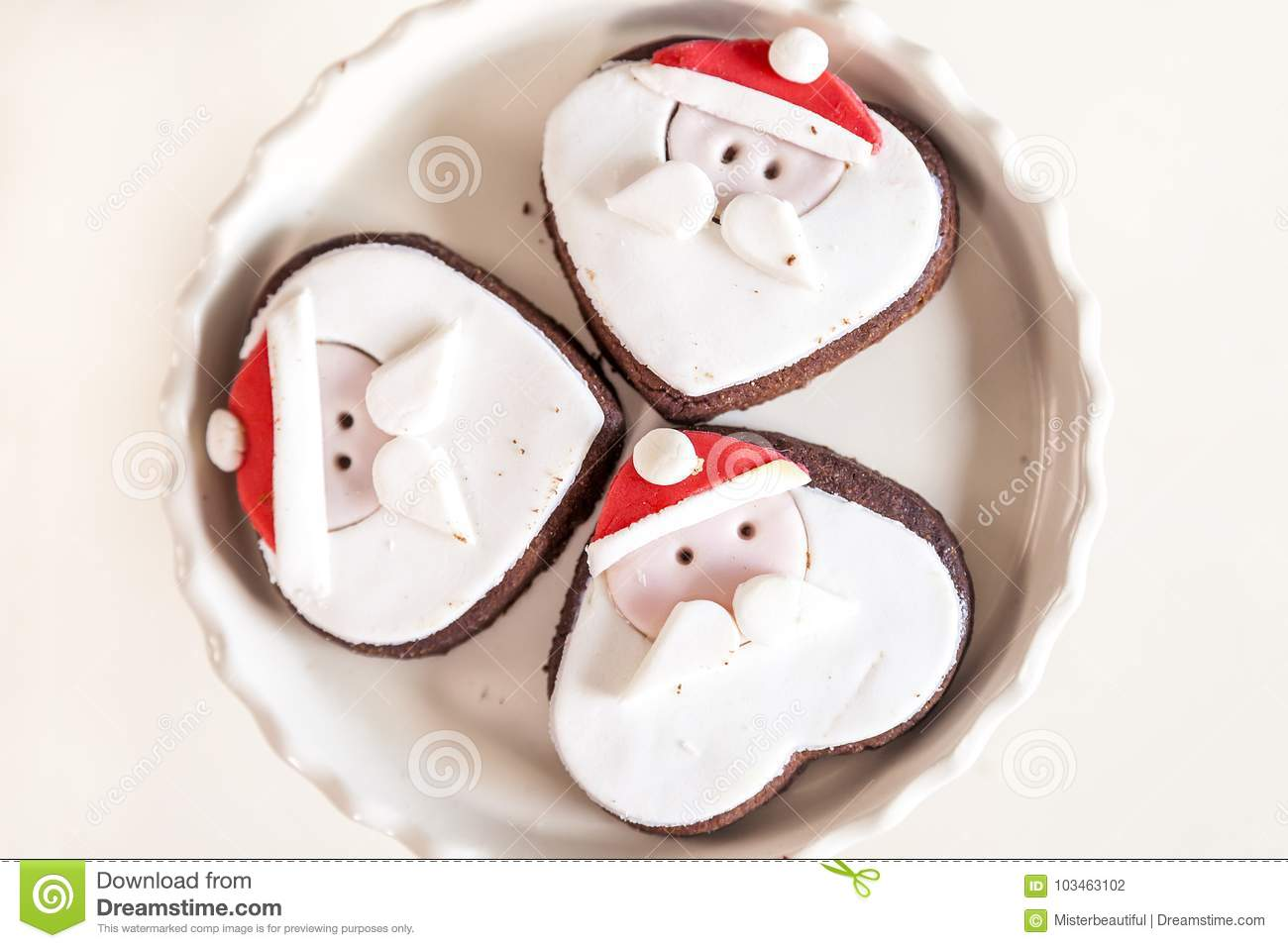 Small Cookies Shaped Santa Claus Face Stock Photo Image Of