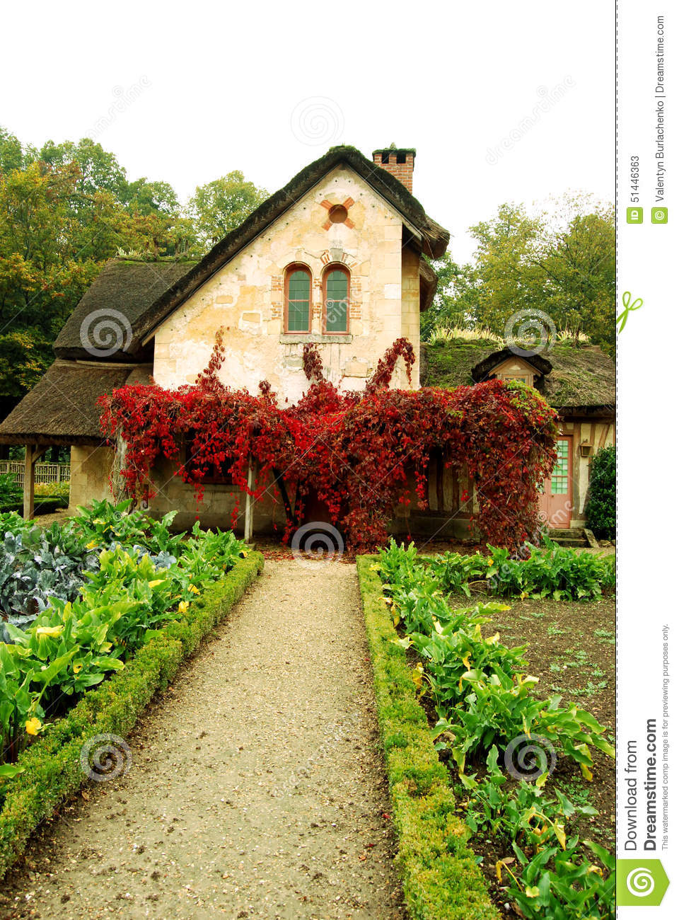 small cottage and cottage garden in the queen u0027s hamlet versailles