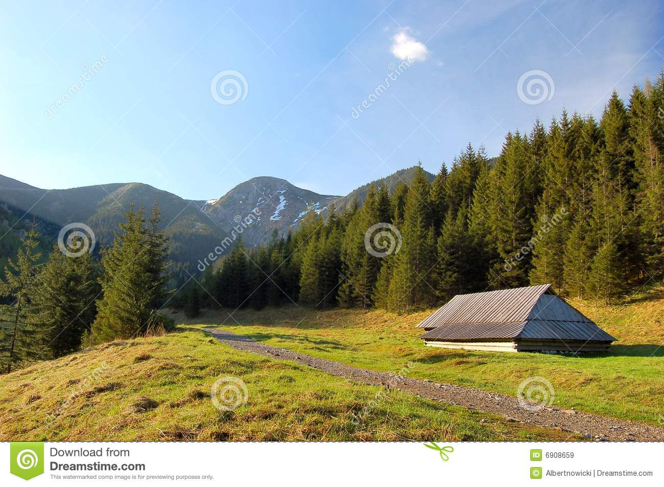 Small cottage shelter in polish tatra mountains royalty for Cottage in the mountains