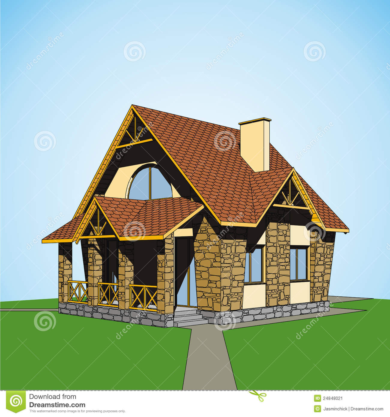 Stock Image Small Country House Image24848021 on Small Country Home House Plans
